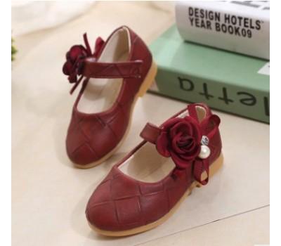 Нарядные туфли с цветком, бордовые