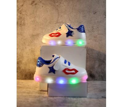 """Кроссовки со светящейся подошвой """"Поцелуйчик"""", синий декор"""