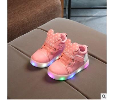 Светящиеся кроссовки Микки, розовые