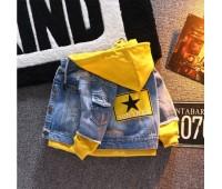 Джинсовая куртка  с желтым капюшоном (унисекс)