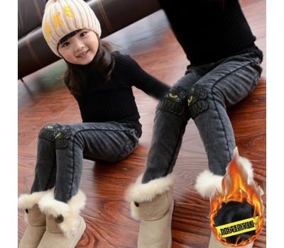 Теплые джинсы со вставками из эко-кожи