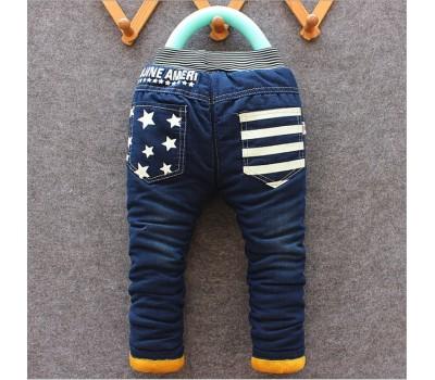 Зимние джинсы на плюше со звездами