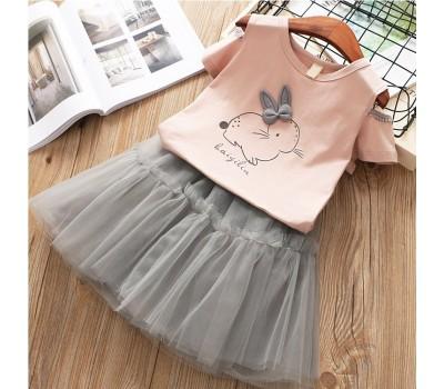 Костюм с принтом кролика, перламутровая юбка