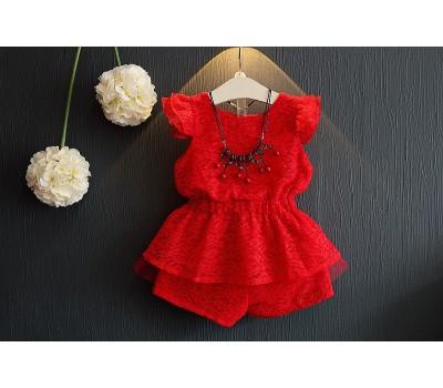 Красный гипюровый костюм