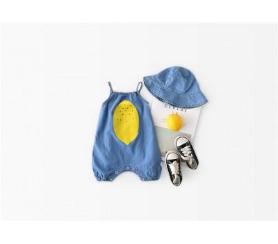 Летний комплект (боди + панамка) с лимоном