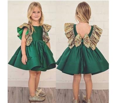 Нарядное платье с золотистым бантом