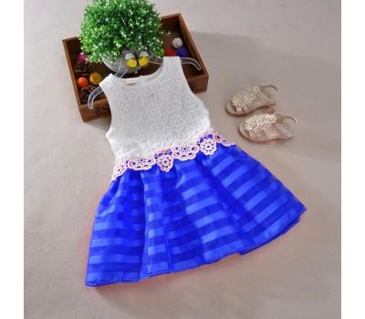 Платье с кружевом, юбка в полоску