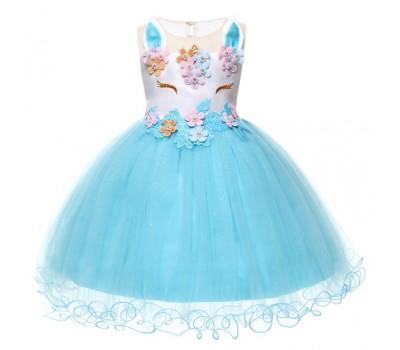 Сказочное платье с крупными цветами, бусинками и камушками