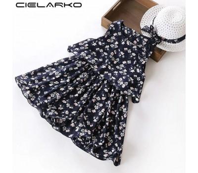 Шифоновое платье со шляпой