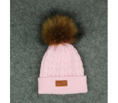 Демисезонная шапка с бубоном, розовая