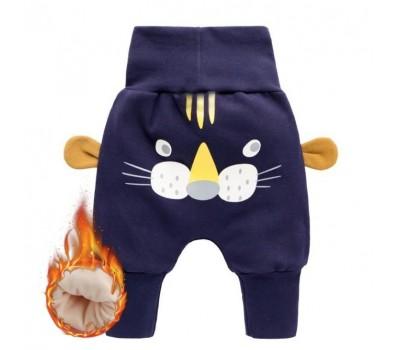 Теплые оригинальные штаны с высокой талией