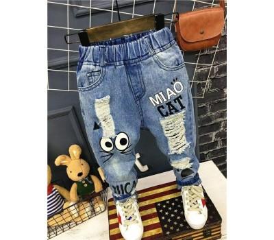 Оригинальные джинсы с  потертостями