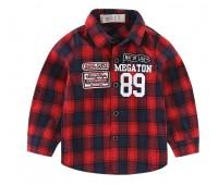 """Клетчатая рубашка с надписями """"89"""", красная"""