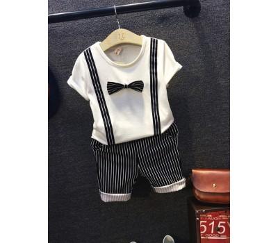 Нарядный костюм с бантиком, чёрно-белые шорты в полоску