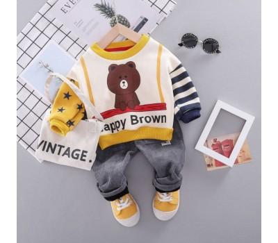 Яркий теплый костюм на малышей